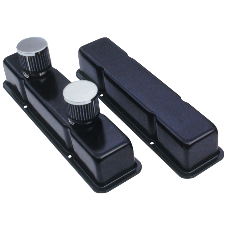 """SBC Black Valve Covers w/ Shielded Breathers - (1-1/2"""")"""