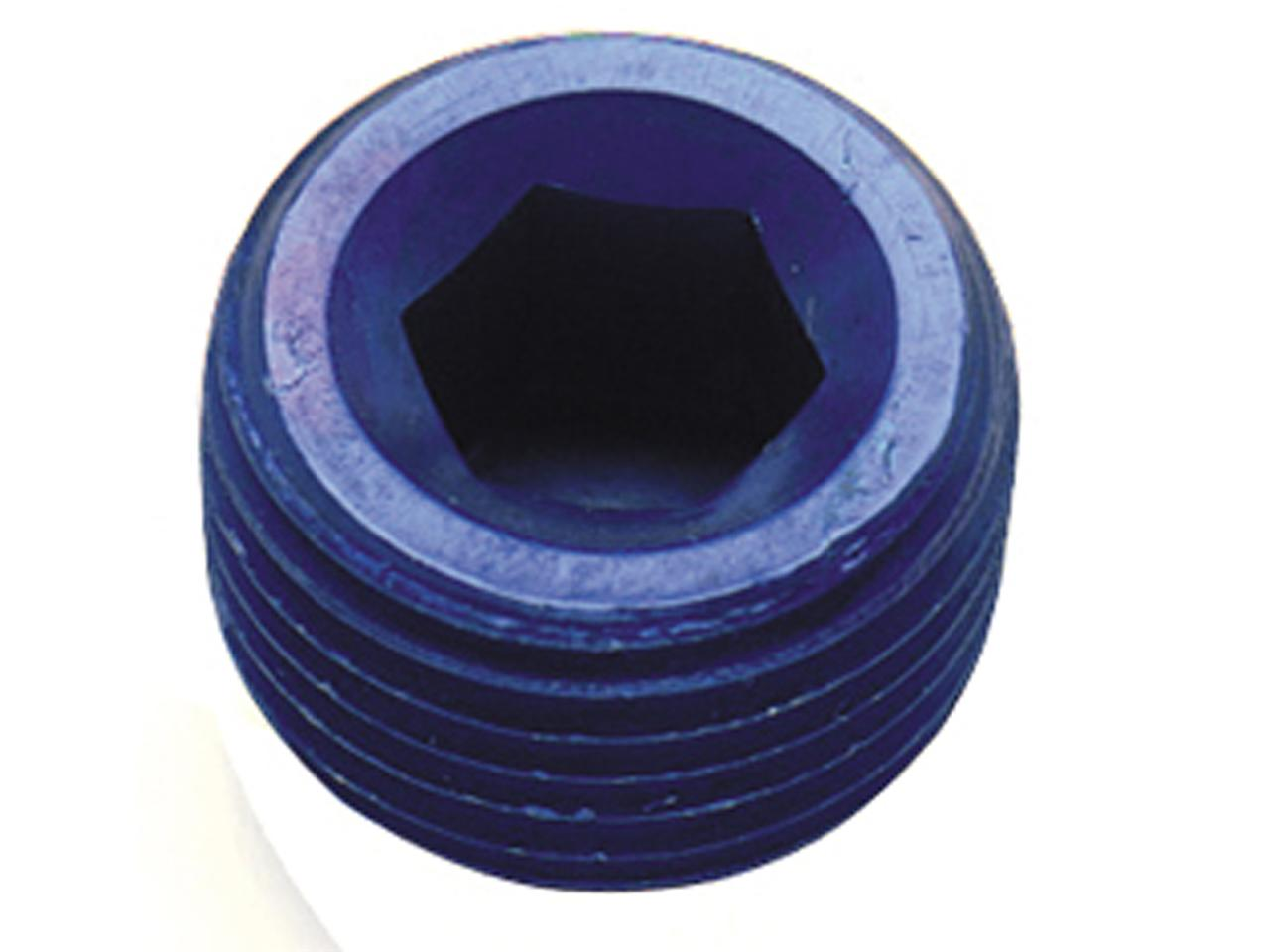 "--Aluminum MPT Allen Head Pipe Plug - 1/16"" (Blue)"