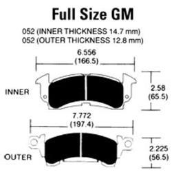 Hawk BLACK Full Size GM Pads - (4 Pads)