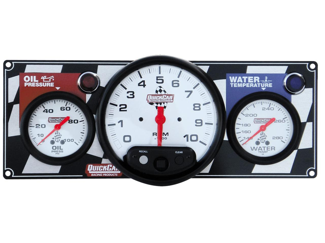 "Quickcar 2 Gauge Flag Panel w/ 5"" Tach - OP/WT"