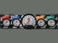 "Quickcar 4 Gauge Flag Panel w/ 5"" Tach - OP/WT/OT/FP"