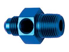 "--Inline Gauge Adapter #6 Male x 3/8"" MPT - 1/8"" FPT (Blue)"