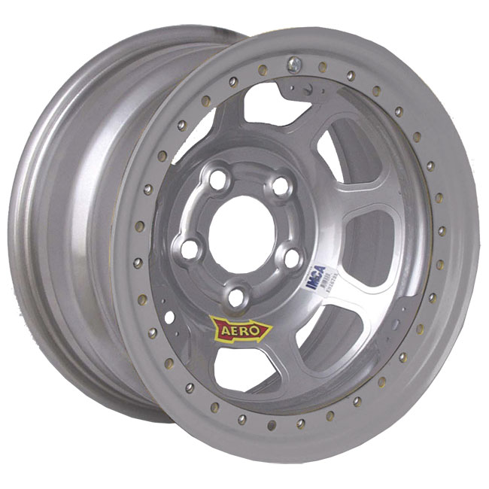 "AERO 53 Series - Silver - Beadlock - 4 3/4"" - 1"" Off - IMCA"