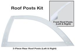 Late Model 3 pc. Open Roof Post Kit - (White)
