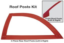 Late Model 3 pc. Open Roof Post Kit - (Red)