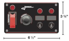 Longacre Ignition Panel w/ Flip-Up and 2 Acc Switch w/Lights