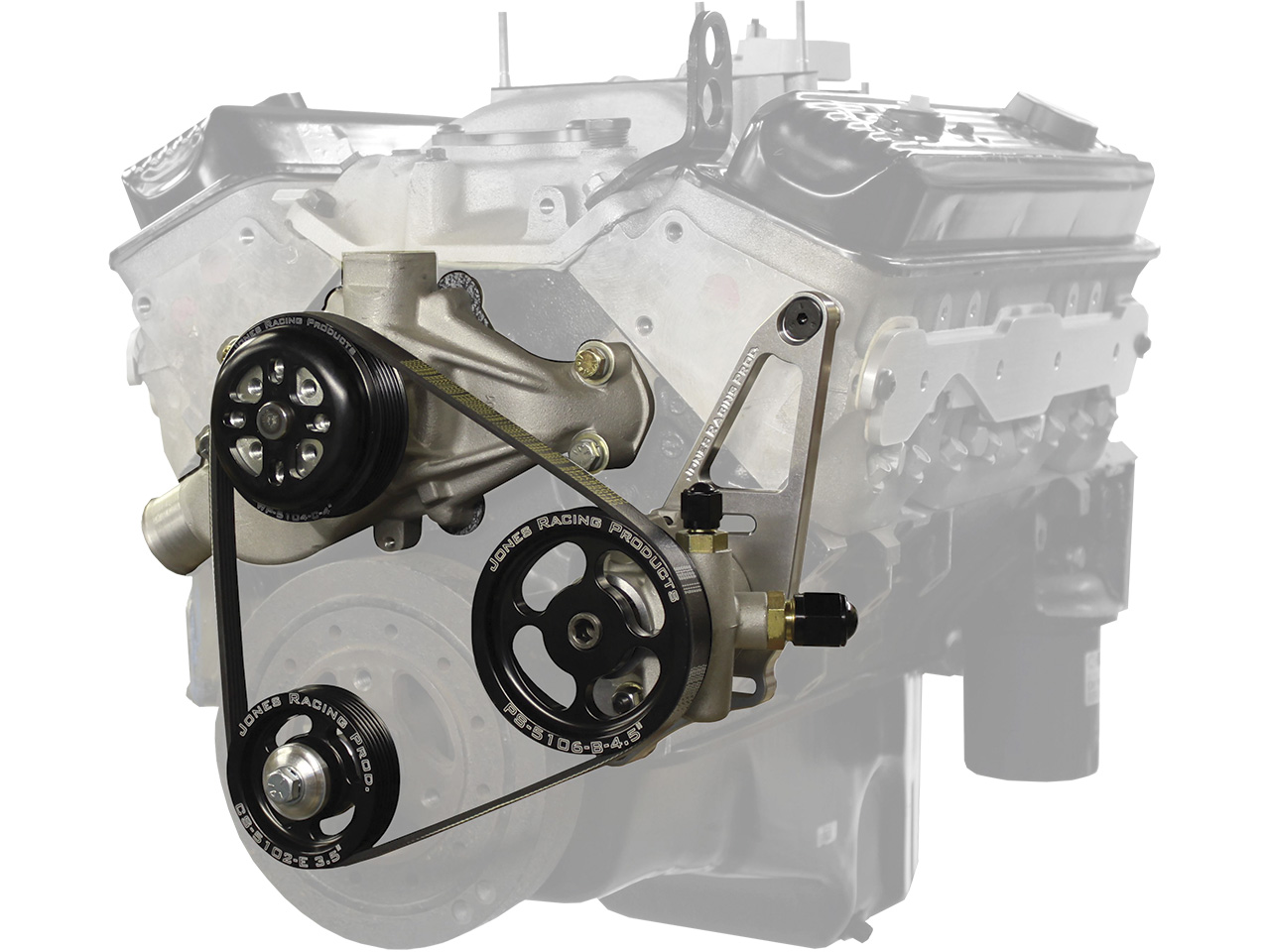 Picture of Jones SBC-Crate Serpentine Water Pump & Power Steering Kit (Remote Reservoir)