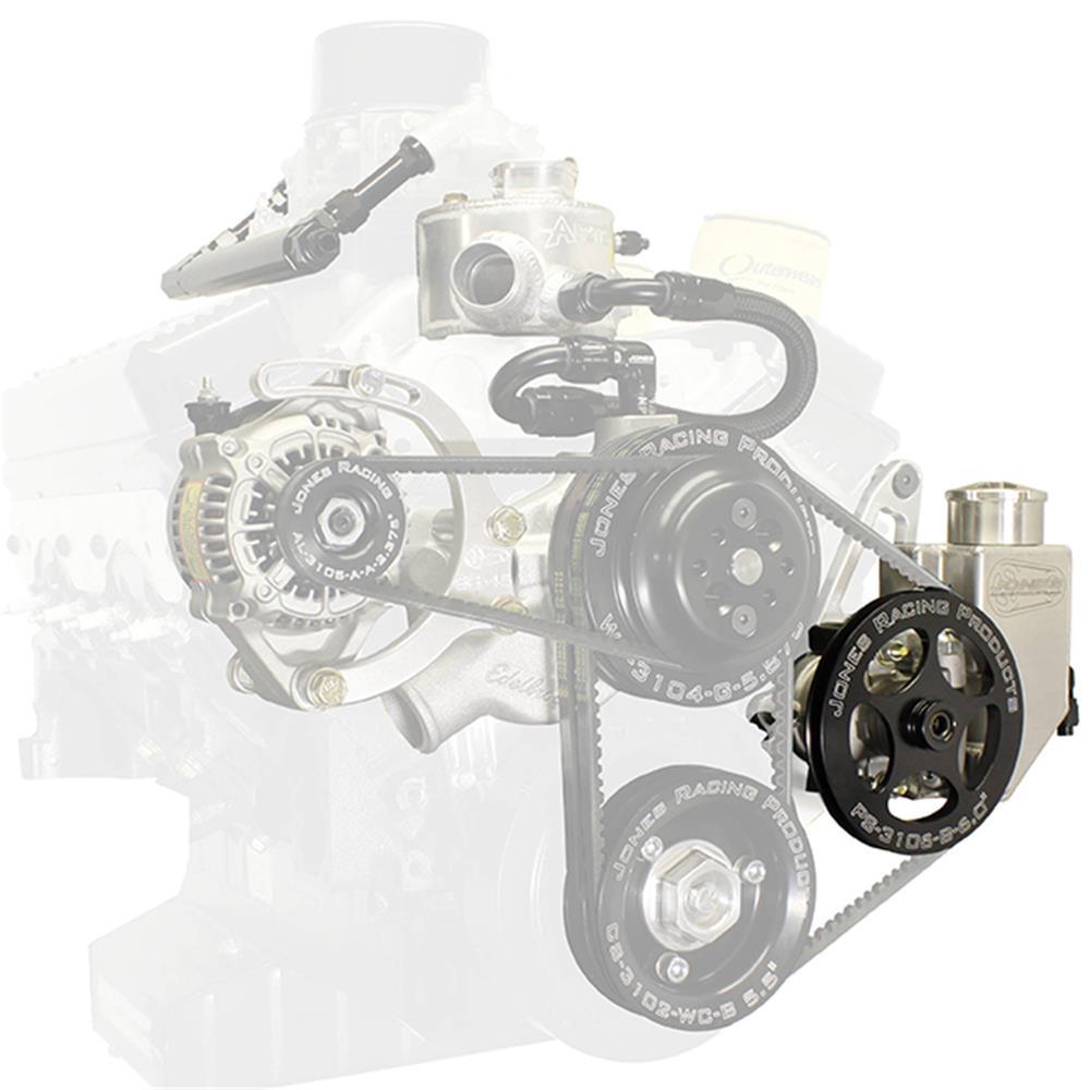 "Picture of Jones Power Steering Pump with Built-In Reservoir & 6"" V-Belt Pulley"